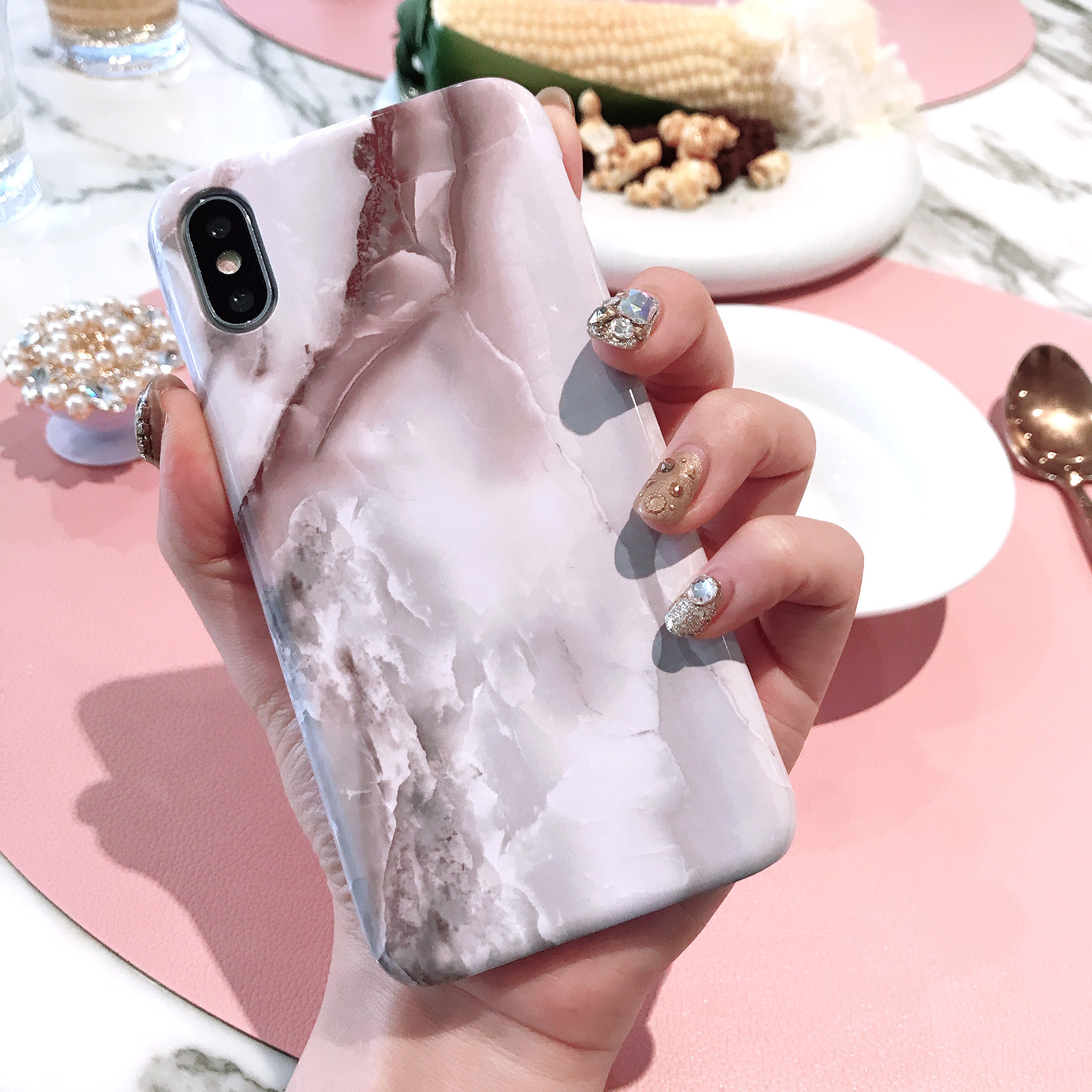 Marsala marble phone case