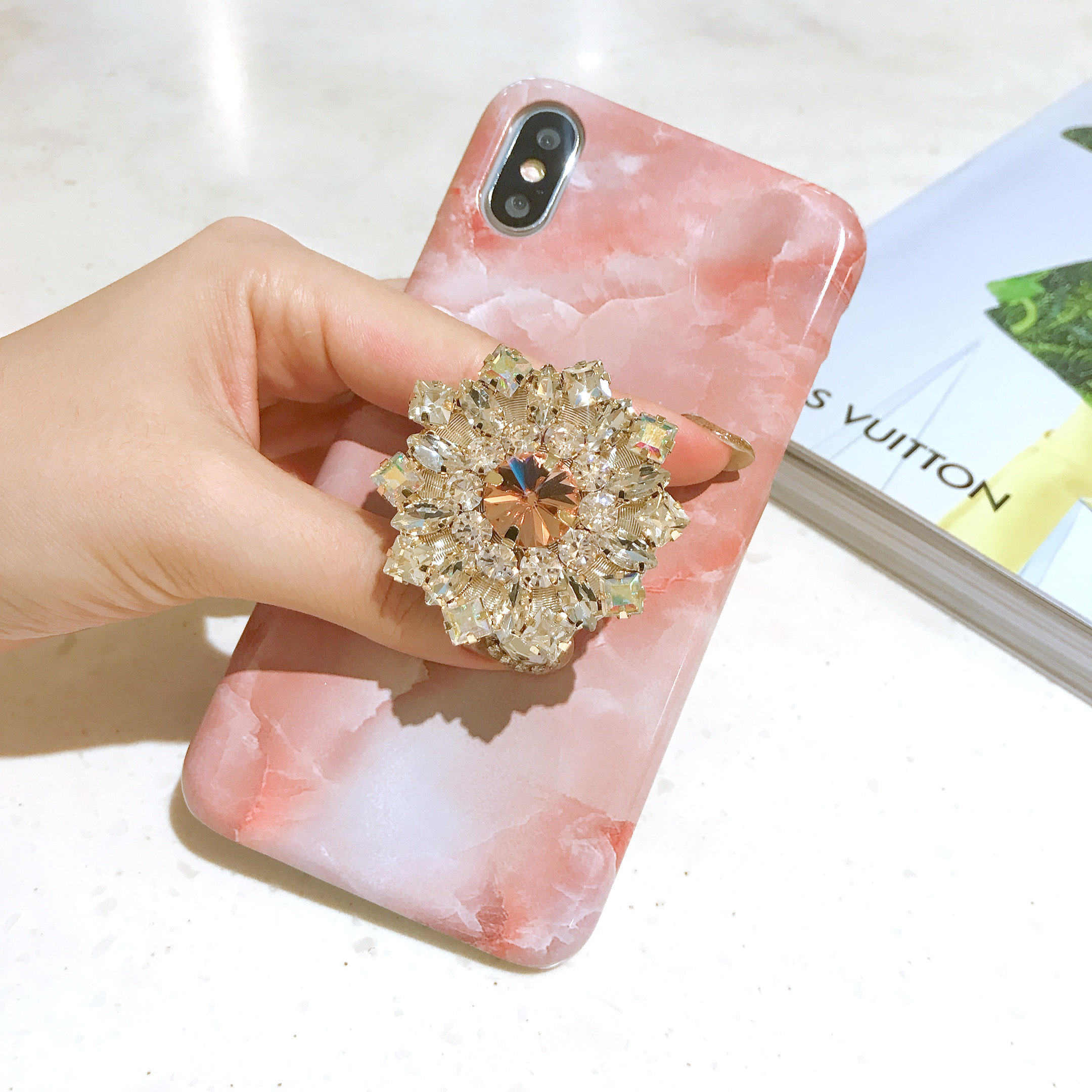 fraise milk marble phone case